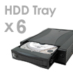6 removable HDD trays